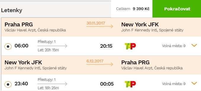 Zpáteční letenky Praha New York