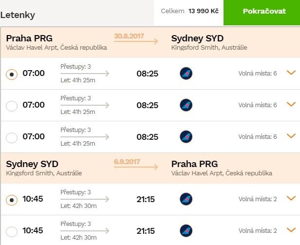 Zpáteční letenky z Prahy do Austrálie