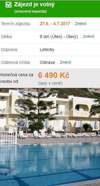 Řecko odlet do týdne z Ostravy
