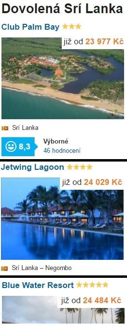 Nejlevnější dovolená Sri Lanka