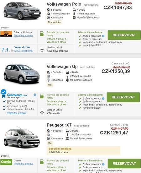 Půjčení auta Portugalsko