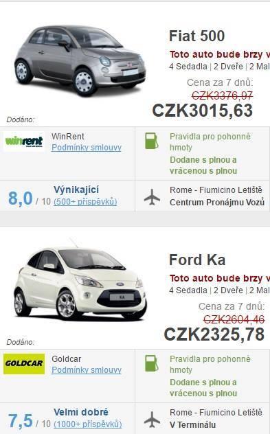 Půjčení auta v Itálii