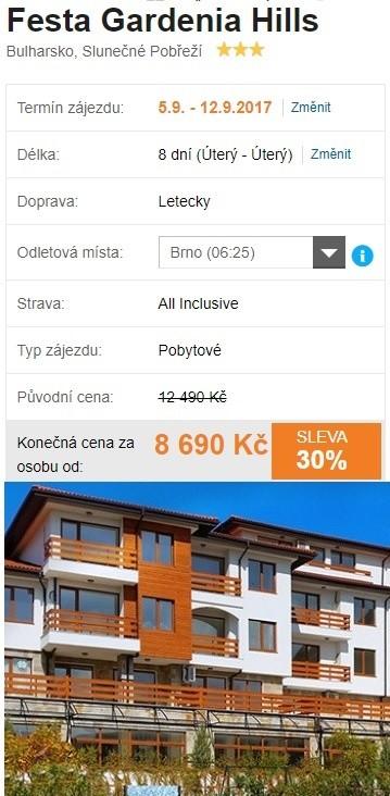 Bulharsko Slunečné Pobřeží all inclusive dovolená