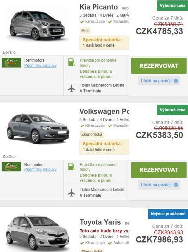 Gruzie půjčení auta
