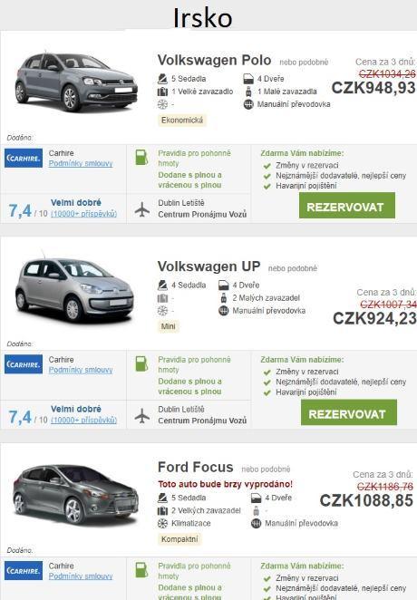 Půjčení auta Irsko