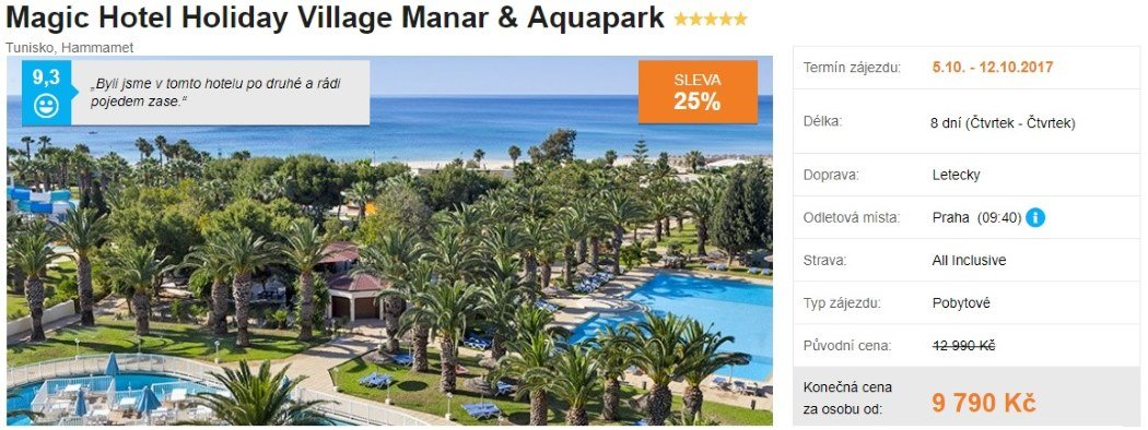 Tunisko All Inclusive Aquapark dovolená