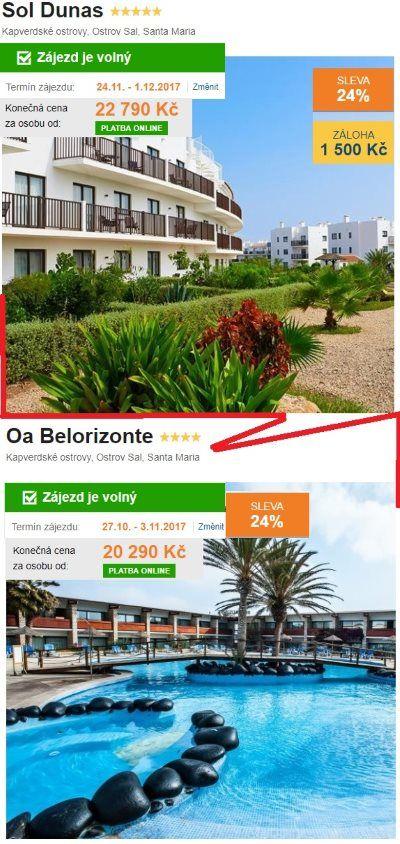 Kapverdské ostrovy srovnání hotelů