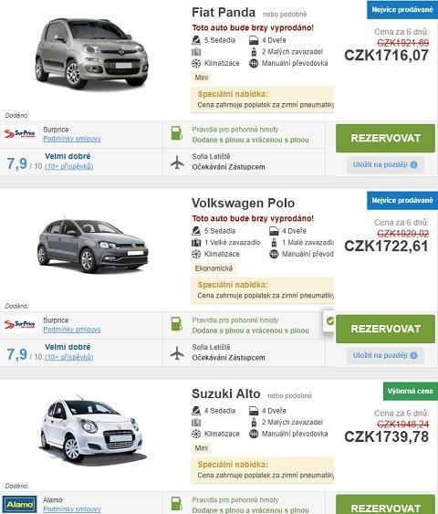 Půjčení auta Bulharsko