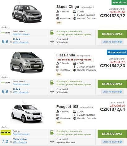 Půjčení auta na Korfu