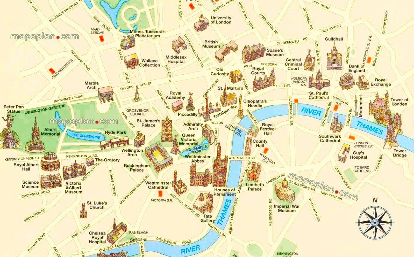 London top tourist attractions printable city street map
