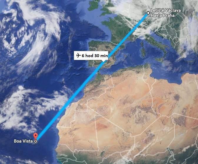 doba a délka letu na Kapverdy