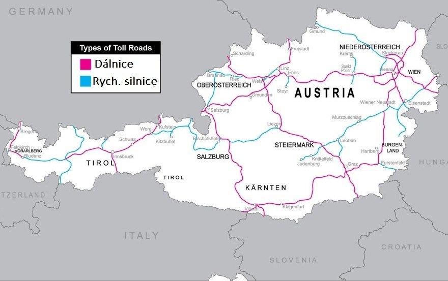 Dálniční známky - rakouské dálnice