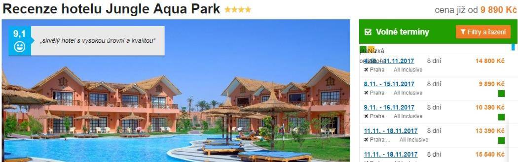 Hurghada Jungle Aqua park Egypt recenze hotelu