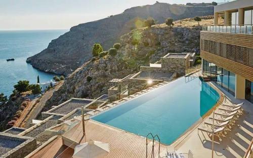 Výhled na moře z hotelu v Řecku