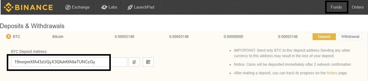 Získání Bitcoin adresy k zaslání Bitcoinů z Coinbase na Binance