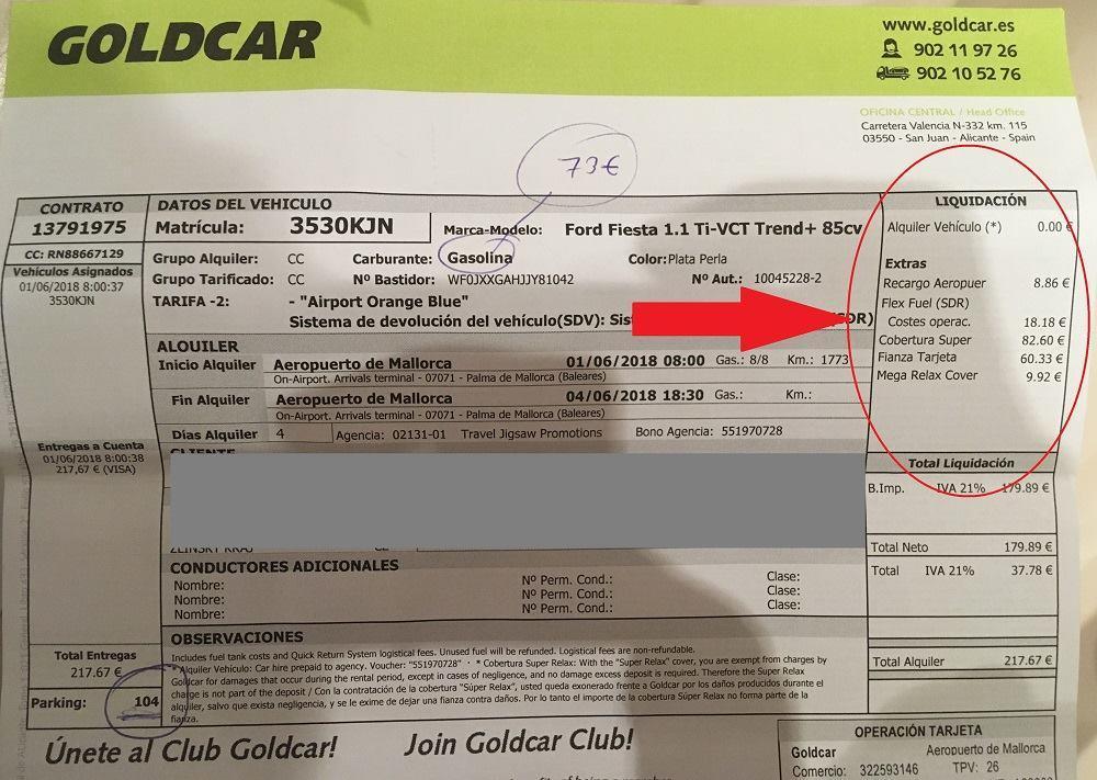Goldcar účtenka placení auta