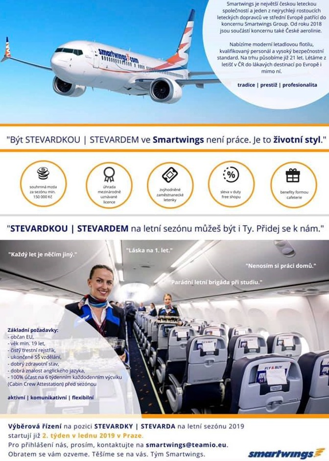 Inzerát Stevard Stevardka palubní průvodči Smart Wings Travel Service