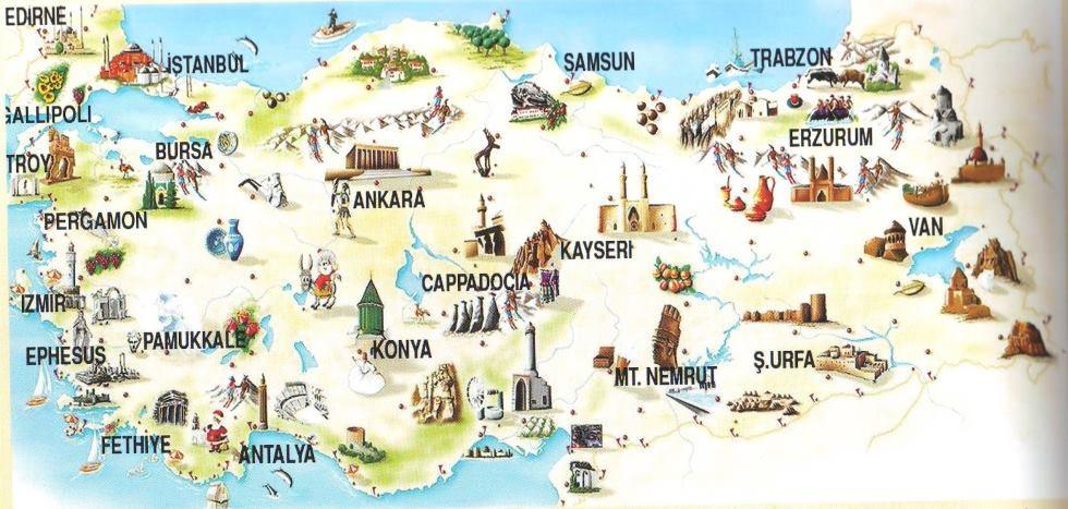 Výsledek obrázku pro turecko mapa památky