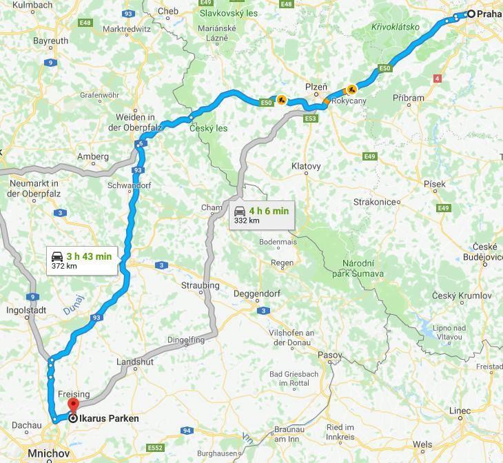 Parkování Mnichov trasa jízdy z Prahy na parkoviště