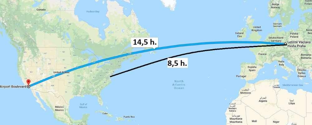 Doba letu do USA Amerika