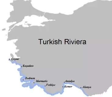 Turecká riviéra mapa