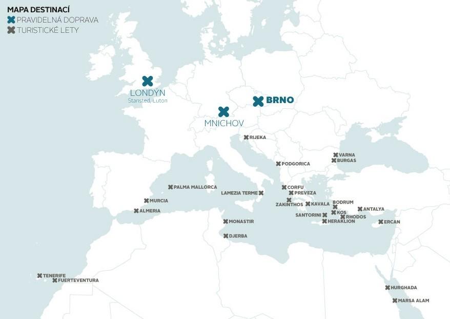 Destinace dostupné z letiště Brno