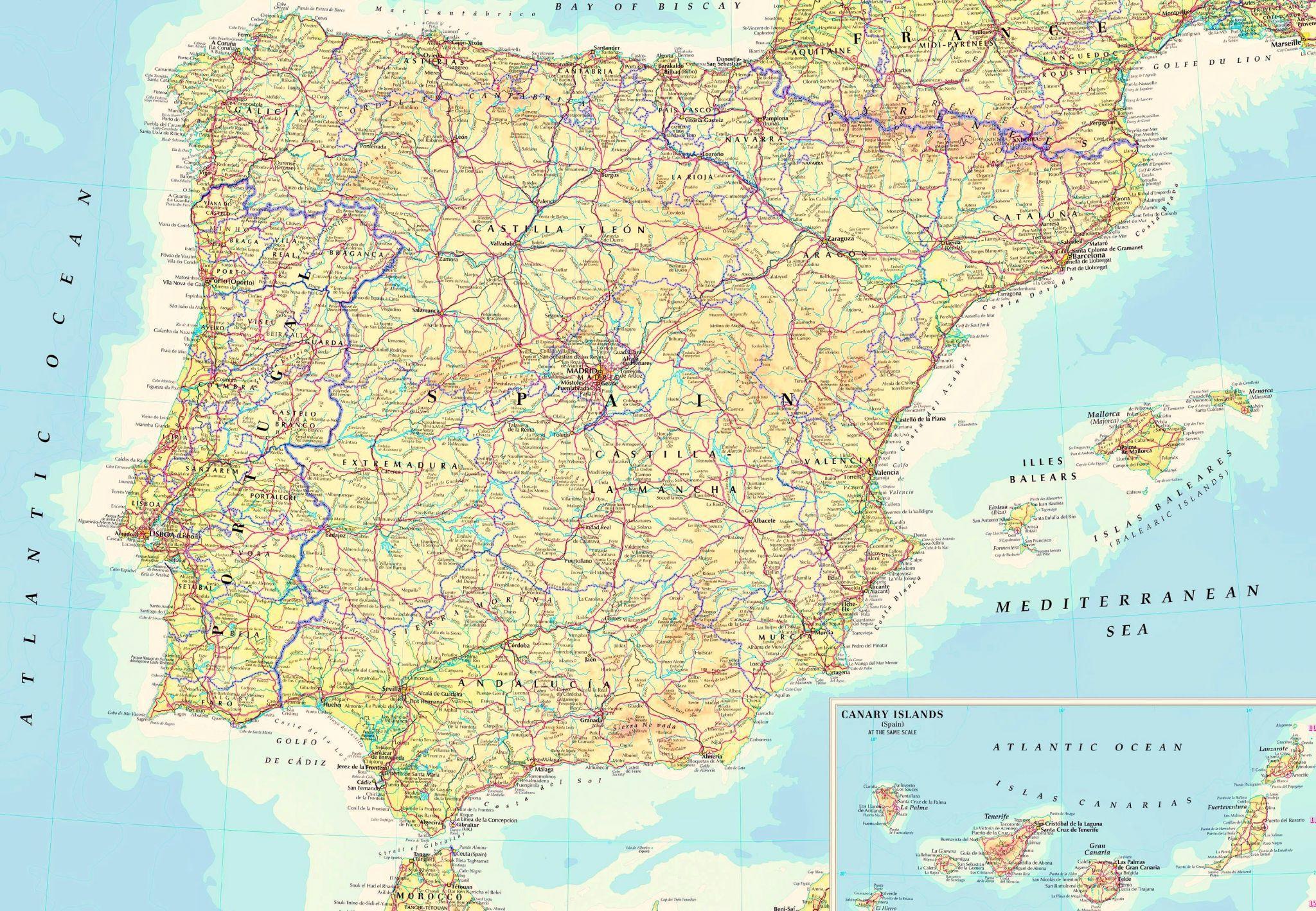 Spanelsko Mapa Regiony Pobrezi Podrobna Mapa Spanelska