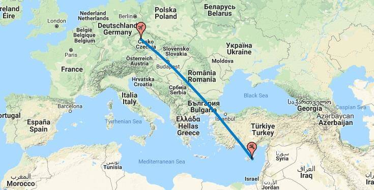 Doba letu Praha Brno Ostrava a Kypr