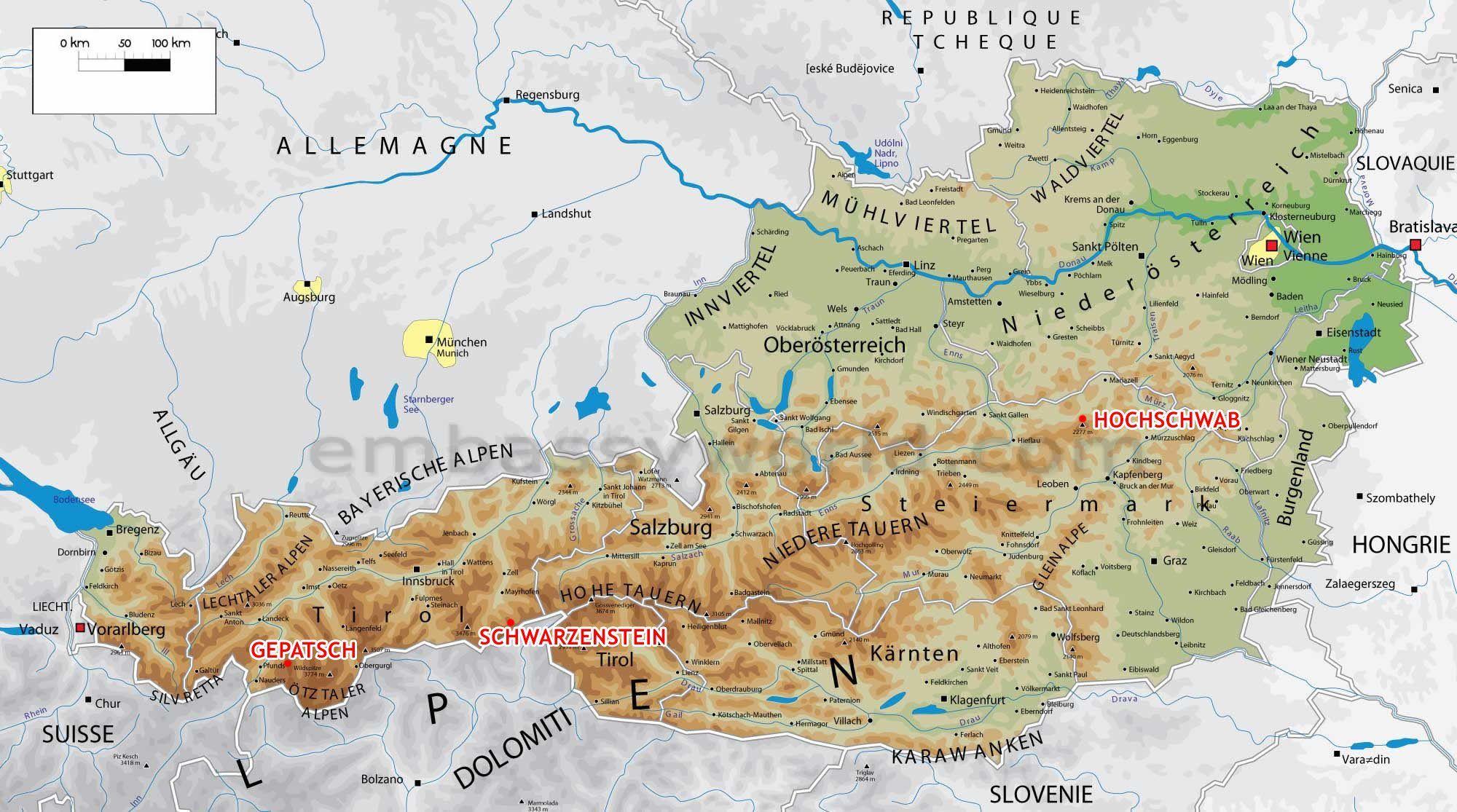 Mapa Rakouska Jezera Rozdeleni I Alpy Rakousko