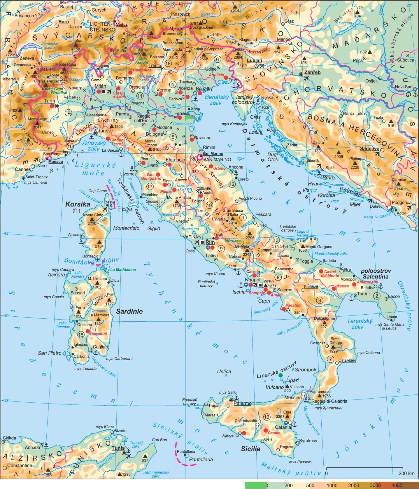 Mapa Italie Podrobne Oblasti Mapy Ke Stazeni