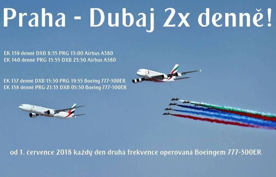 emirates praha dubaj dvakrat denne