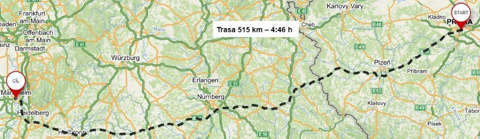 Mannheim doba jízdy autem