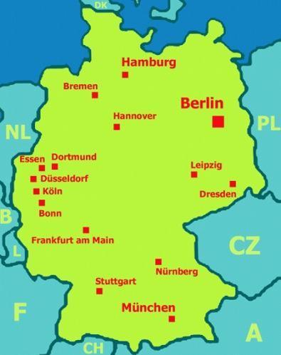 Mapa Německo hlavní města