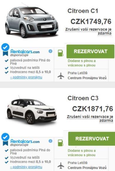 Půjčení auta Letiště Praha