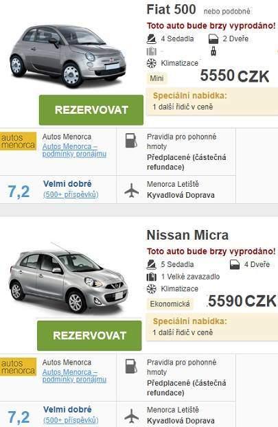 Půjčení auta Menorca