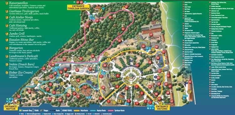 ZOO Vídeň mapa zoologické zahrady