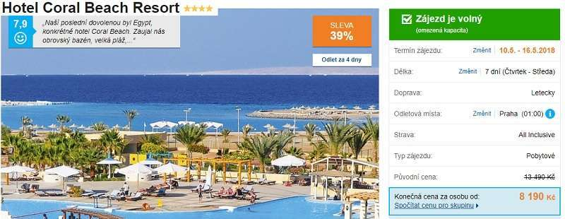 Coral Beach hotel Egypt recenze