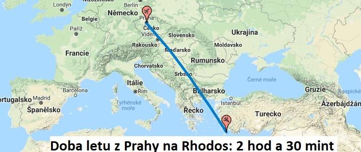 Doba a délka letu na Rhodos