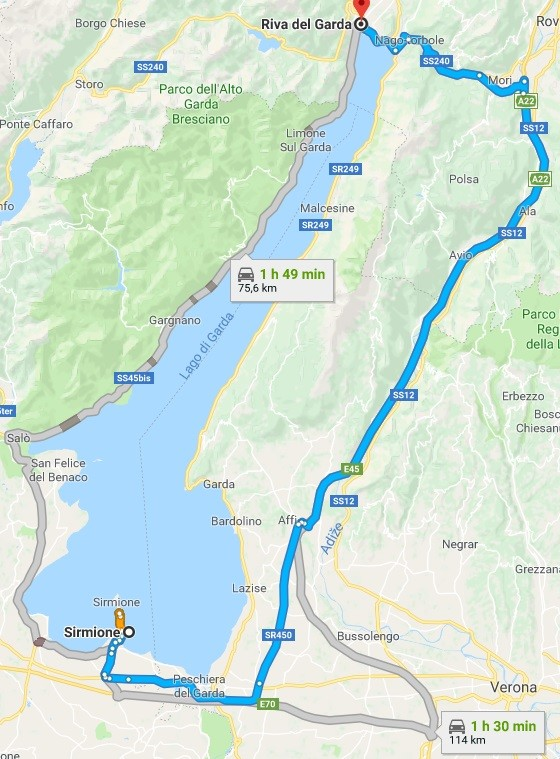 Doba jízdy kolem jezera Lago di Garde