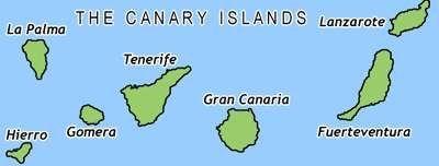 Kanárské ostrovy mapa a poloha