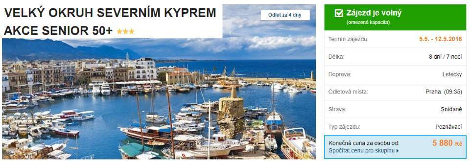 Kypr sleva Senior 50