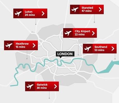 Letiště Londýn mapa