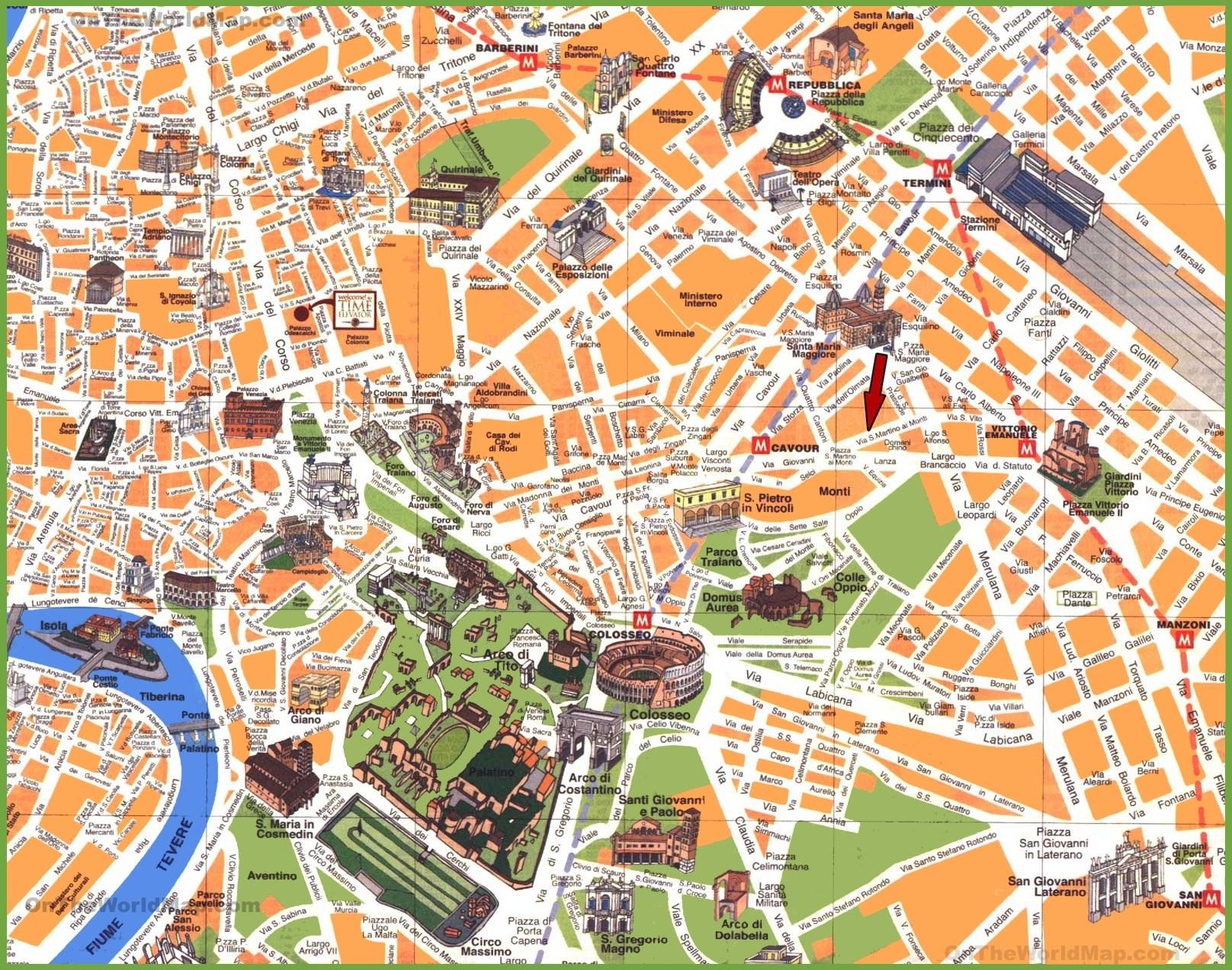 Mapa Rima Pamatky Turisticka Podrobna Mapa Rim