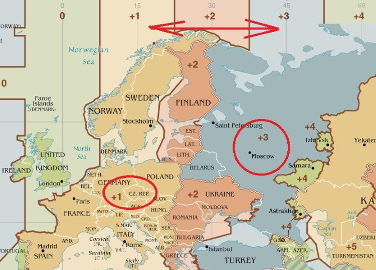 Moskva časová pásma časový posun aktuální čas