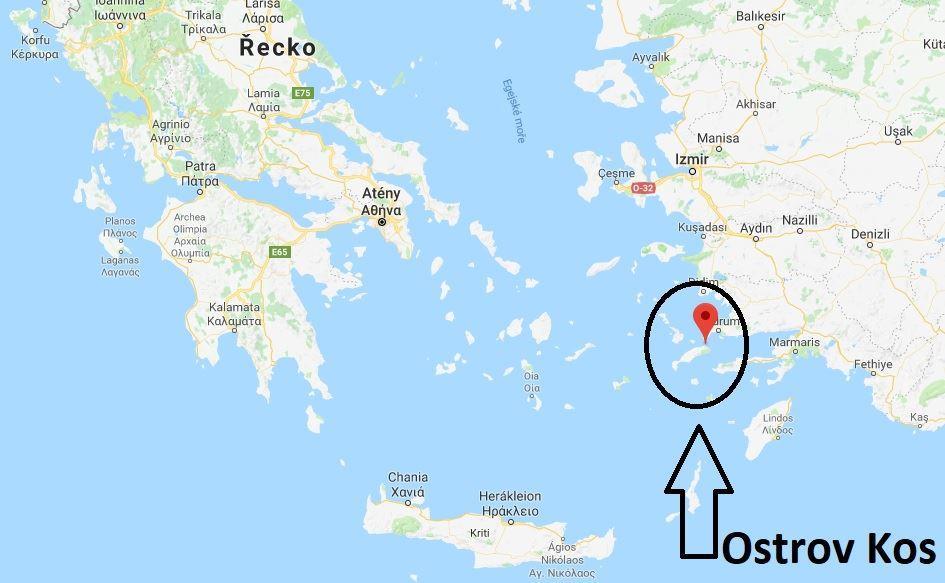 Ostrov Kos na mapě
