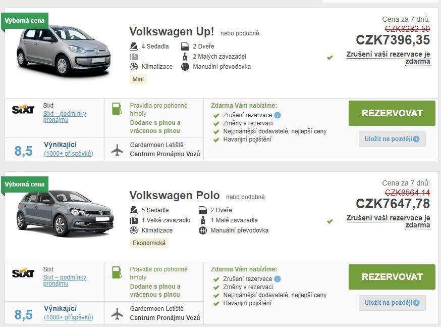 Půjčení auta Norsko