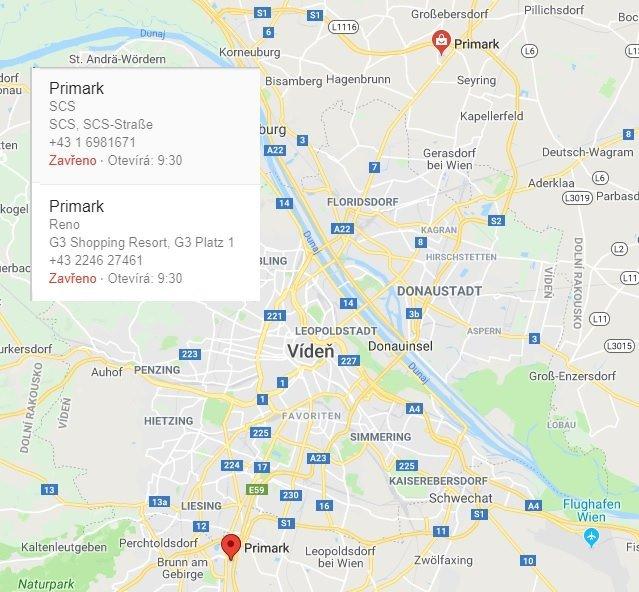 Primark Vídeň Rakousko kde leží