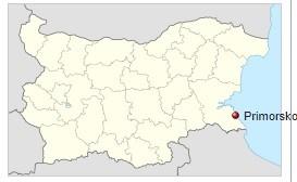 Primorsko na mapě Bulharska