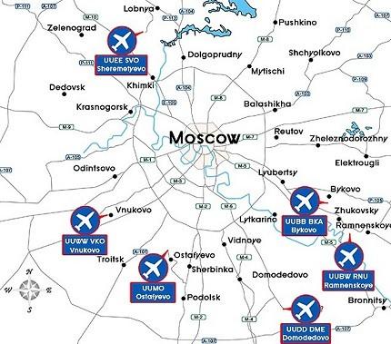 letiště Moskva na mapě