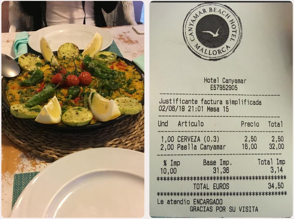 Cena jídla v restauraci Paella